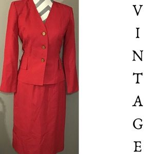 Vintage 80s 90s Red Leslie Fay Skirt Suit